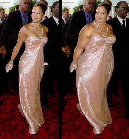 Jennifer Lopez mit Photoshop dick